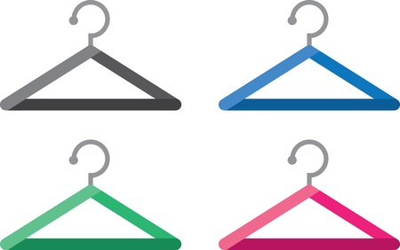 Various colored stylized hangers isolated  Ilustrace