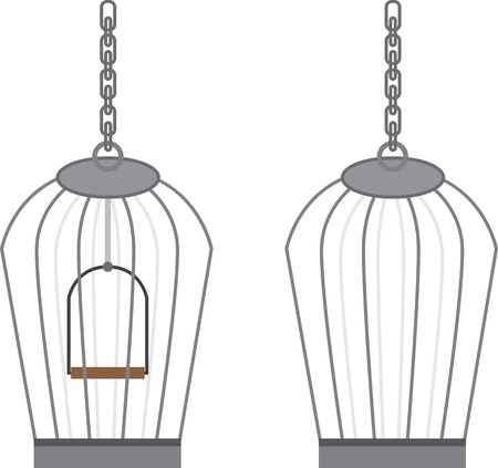 Isolated empty birdcage with and without swing