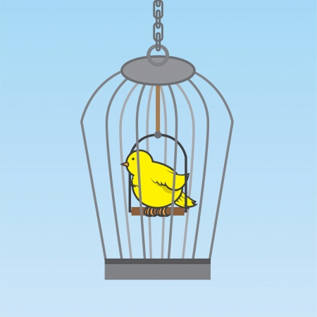 Hanging birdcage with yellow bird inside