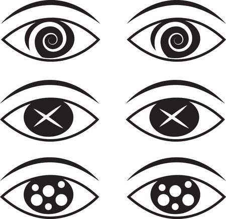 sensory perception: Eyes with various symbols set  Illustration