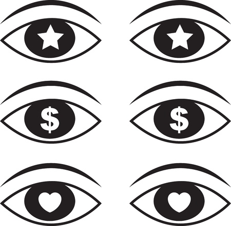 Eyes with various symbols set 1  Ilustrace