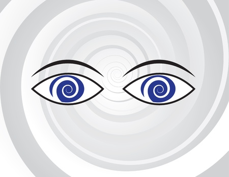 Eyes with spiral pupils over spiral background
