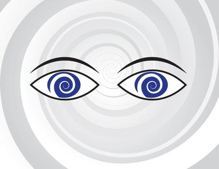 psiquico: Ojos con pupilas en espiral sobre fondo espiral Vectores
