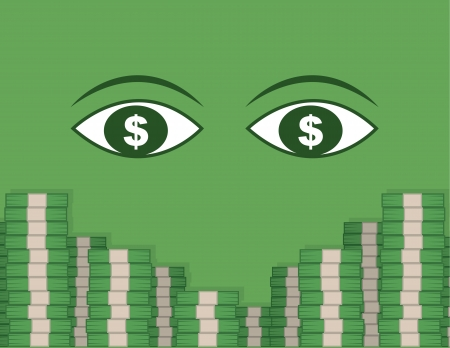 Two large eyes looking at stacks of money