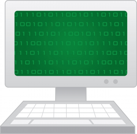 Isolated computer with green numbers on the screen  Vector