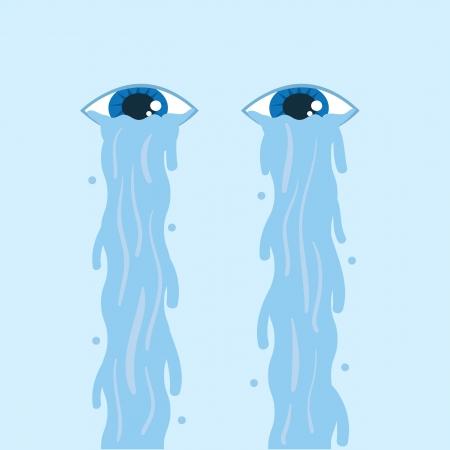 Tears flowing down two floating eyes