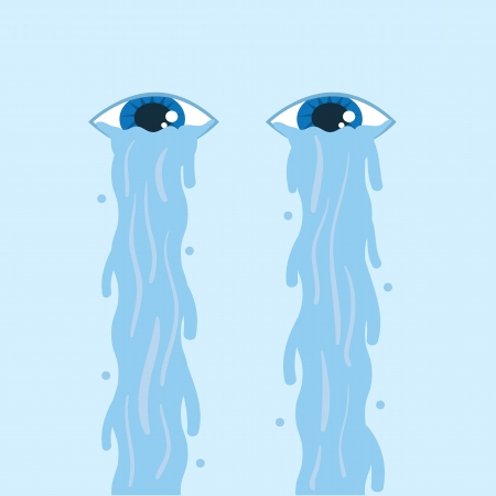 tearful: Tears flowing down two floating eyes