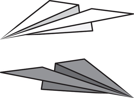 goofing: Isolated paper airplane light and dark   Illustration