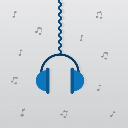 Headphones hanging from wire with notes in the background  Illusztráció