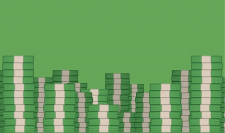 Money stacked filling green room