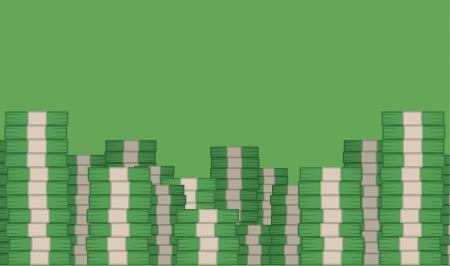 money pile: Money stacked filling green room
