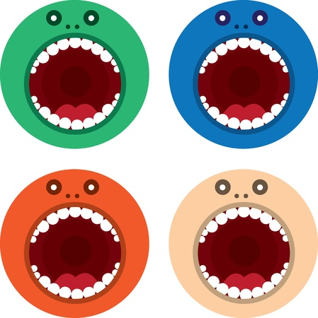 eyes wide open: Large round monster mouth in various colors