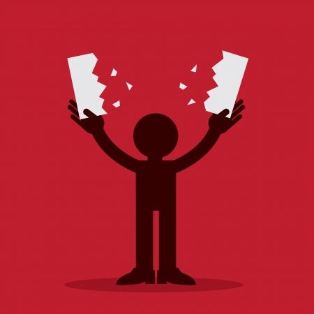 negar: Figura silueta rasga pedazo de papel por la mitad Vectores