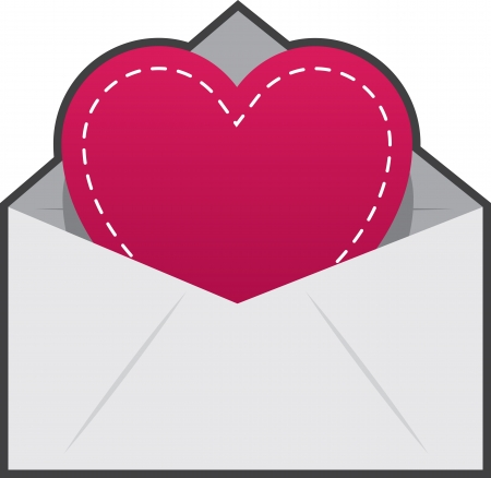 Isolated envelope and heart with stitching Stock Vector - 19277262