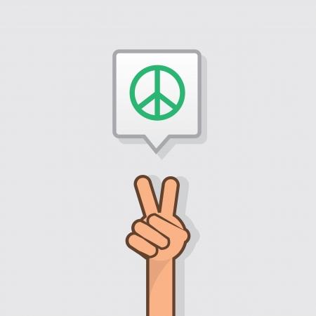 Hand die vredesteken met vredessymbool Stock Illustratie