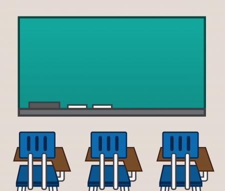 empty classroom: Empty classroom with blank chalkboard  Illustration