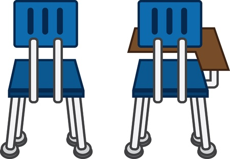 school class: Back of classroom chairs, with and without desk
