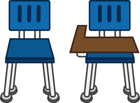 Front of classroom chairs, with and without desk  Vector