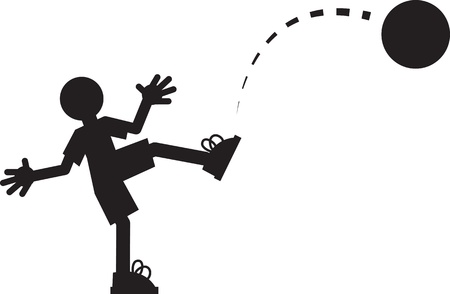 shoelaces: Silhouette figure kicking a ball  Illustration