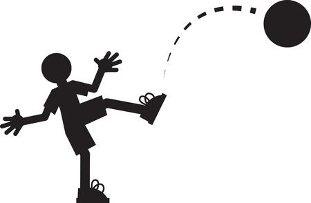 kickball: Silhouette figure kicking a ball  Illustration
