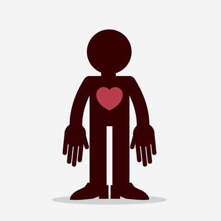 Figure with large heart symbol  Vector