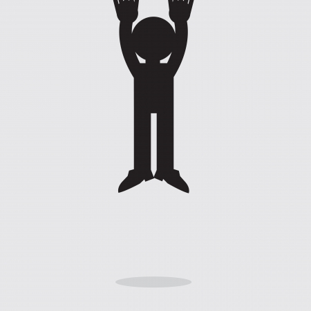 disoriented: Silhouette figure hanging from the top of the page
