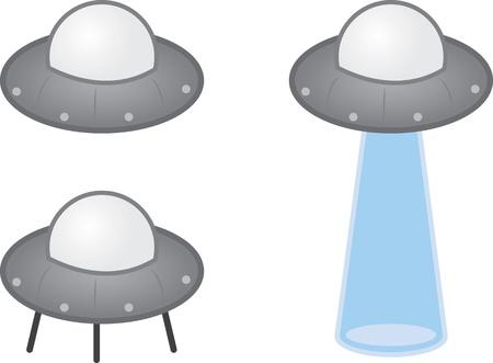 Alien UFO spaceship with beam  Illustration