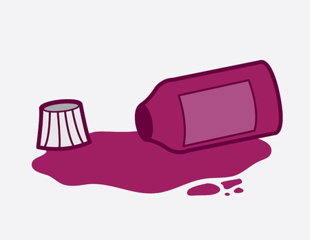 Purple medicine bottle spilled over  Vector