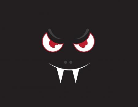 Drijvende vampier gezicht in het donker Stock Illustratie