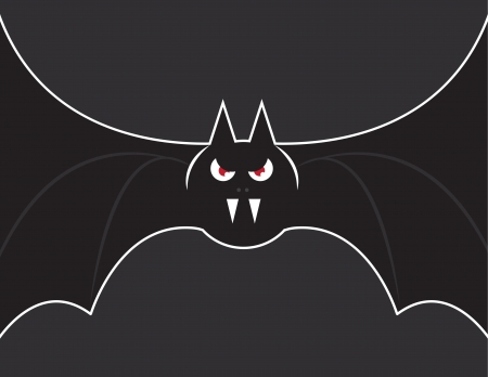 eyes cave: Flying bat with wings stretched out  Illustration