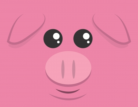 pig cartoon: Cartoon pig head filling the space