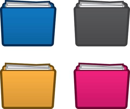 Geïsoleerde gekleurde mappen met papieren Stock Illustratie