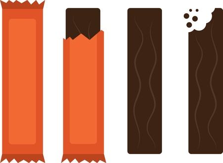 Isolated chocolate candy bars with and without wrapper