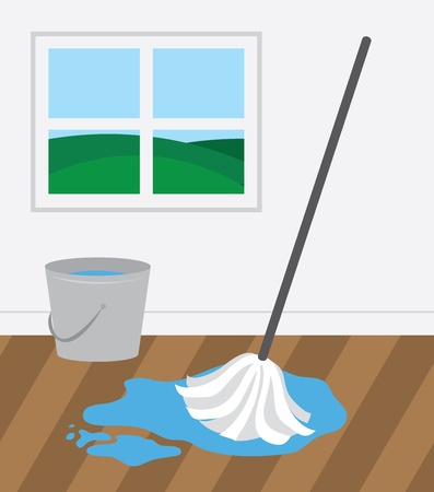 Mop and bucket cleaning wooden floor  Ilustracja