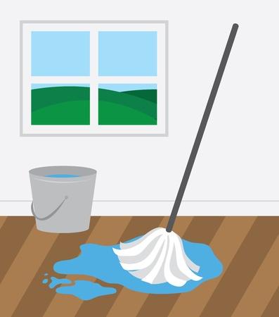 Mop und Eimer Reinigung Holzboden