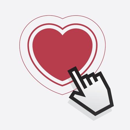 Digital hand pointing at heart Stock Vector - 19420236