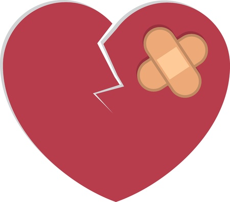 Broken cracked heart with bandages  Vector
