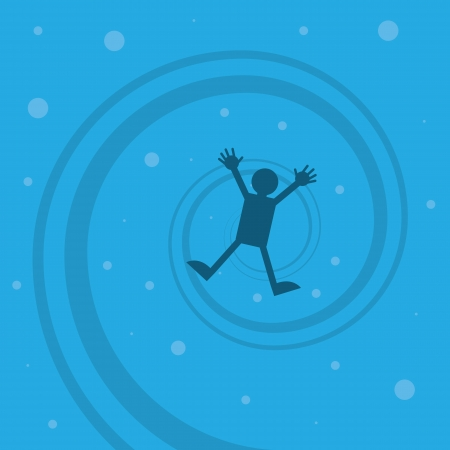 Figure drowning sinking to the bottom  Illustration