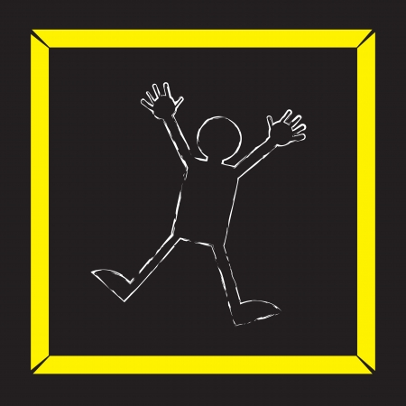Body chalk outline with police tape   イラスト・ベクター素材