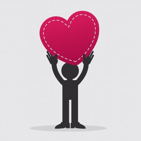 Figure holding large heart up in the air  Illusztráció