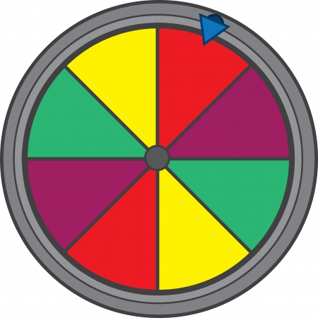 wheel spin: Isolated colorful game show wheel  Illustration