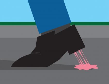 zapatos azules: Chicle pegado a la parte inferior de un zapato Vectores