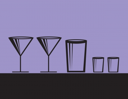 Various alcoholic drink glasses with purple background   Vector