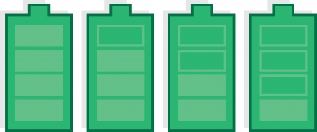 Isolated battery icons in various states