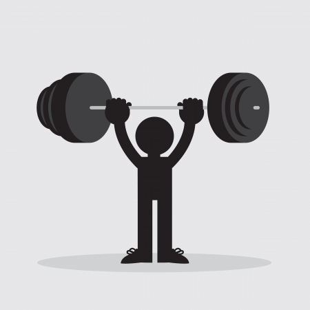 Silhouetted figure lifting weights high