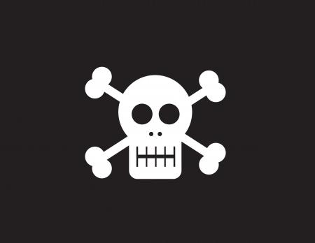 skull and cross bones: Skull symbol with black background