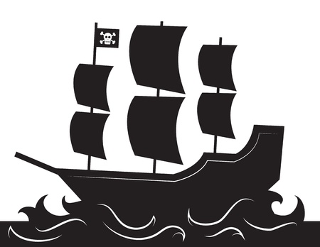 Pirate ship silhouette with waves  向量圖像