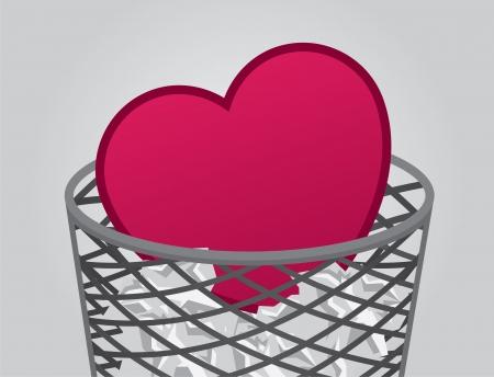 betray: Coraz�n dentro cubo de basura con la basura Vectores