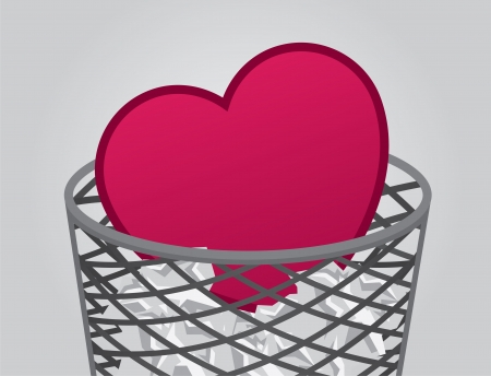 discarded: Heart inside garbage can with trash