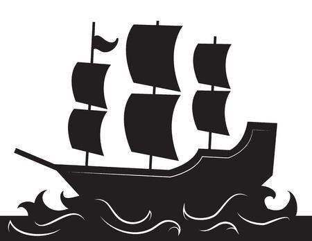 Silhouet van het schip varen met golven
